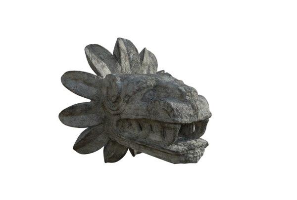3D quetzalcoatl aztec head model