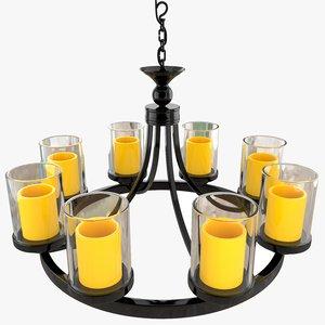 3D candle chandelier light model