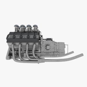 3D model f1 engine v8