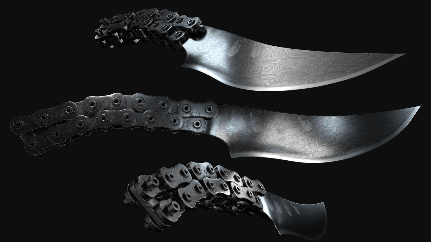 damascus knife chains model