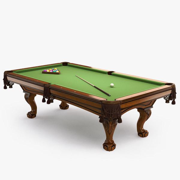 3D pool table 8ft classic model