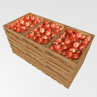 Wooden boxes with apples