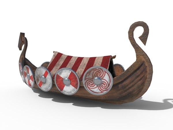 3D viking ship drakkar pbr model
