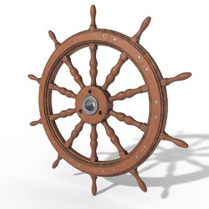 3D model hand wheel ships pbr