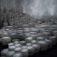 hexagonal basalt stones 3D model