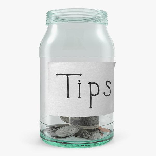 3D tip jar money