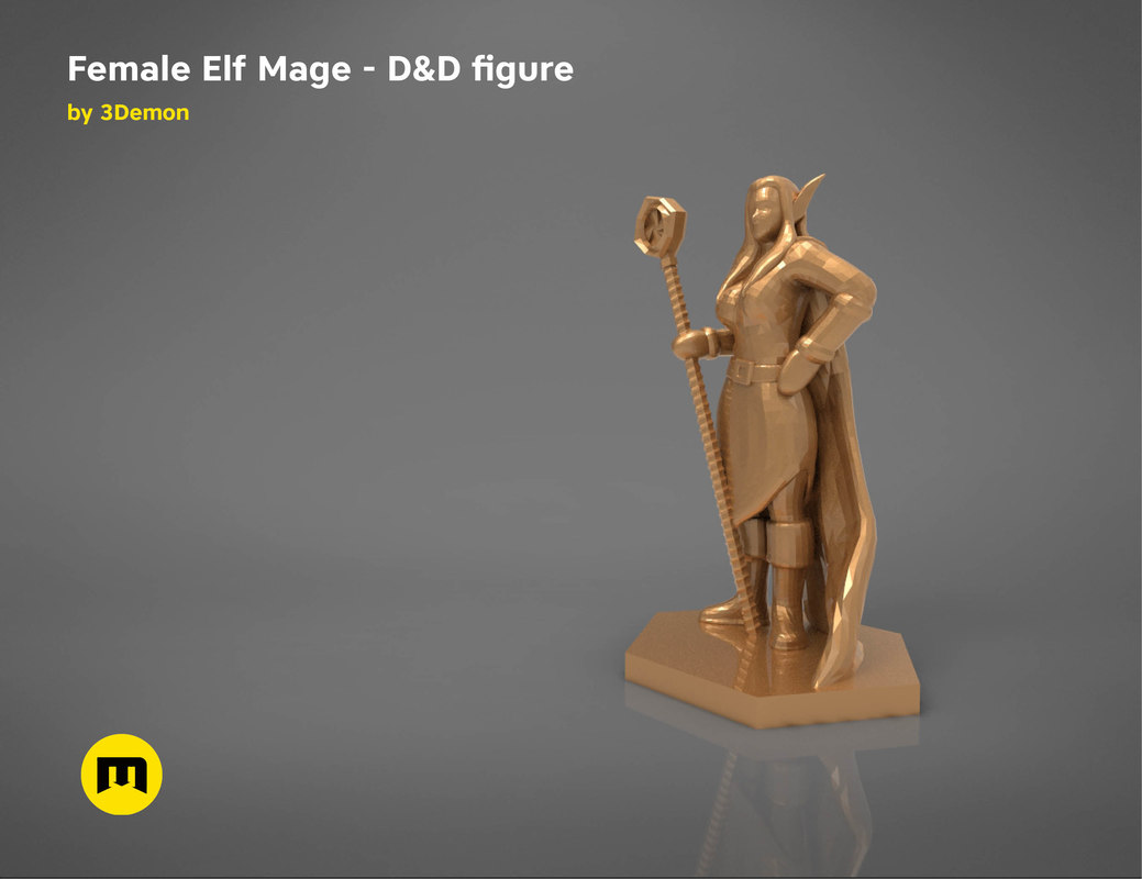 3D model elf mage female character