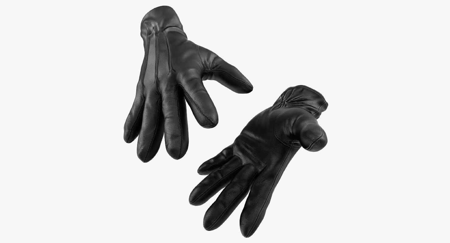 3D leather gloves black