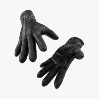 3D leather gloves black