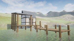 medieval fishing 3D model