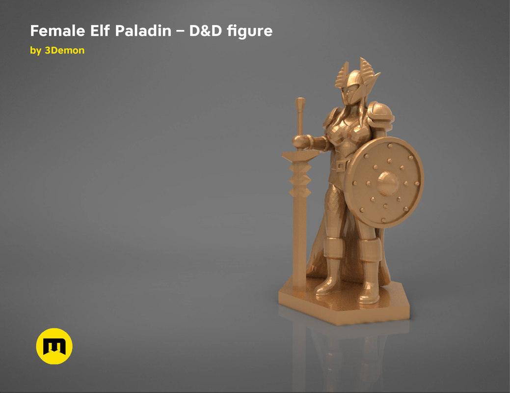 3D elf paladin female character model