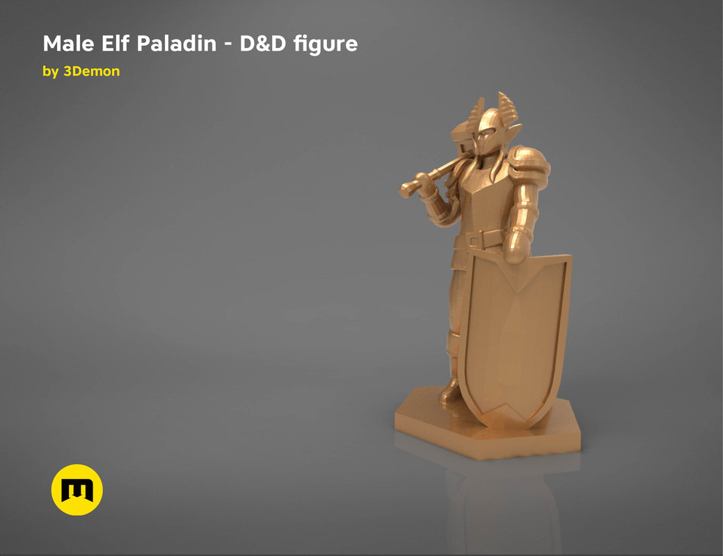 3D elf paladin character figures model