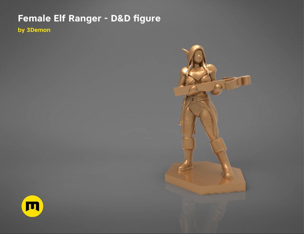 3D elf ranger female character