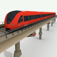 3D railway metro train