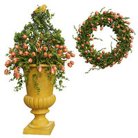 Vase with flowers and wreath 04