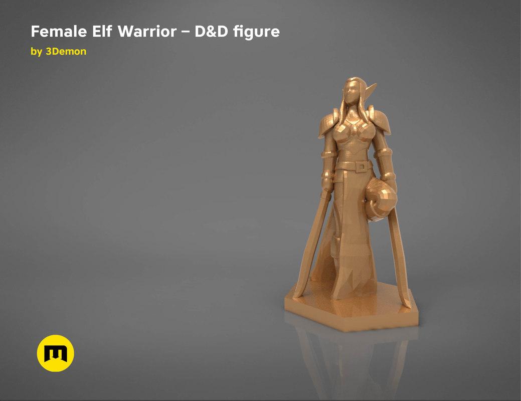 3D model elf warrior female character