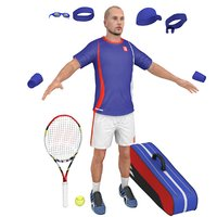 3D model tennis player racket 1