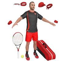 3D tennis player 2 cap