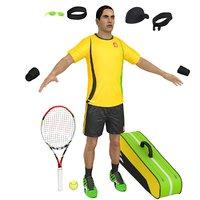 tennis player cap racket 3D model
