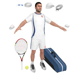 3D tennis player cap racket