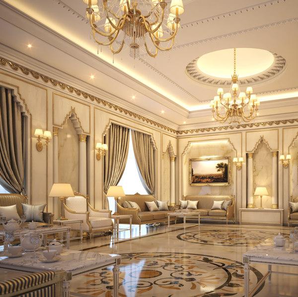 interior scene luxury living room 3D