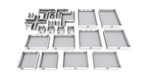 large modular hospital pack 3D