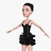 cartoon character girl rig model