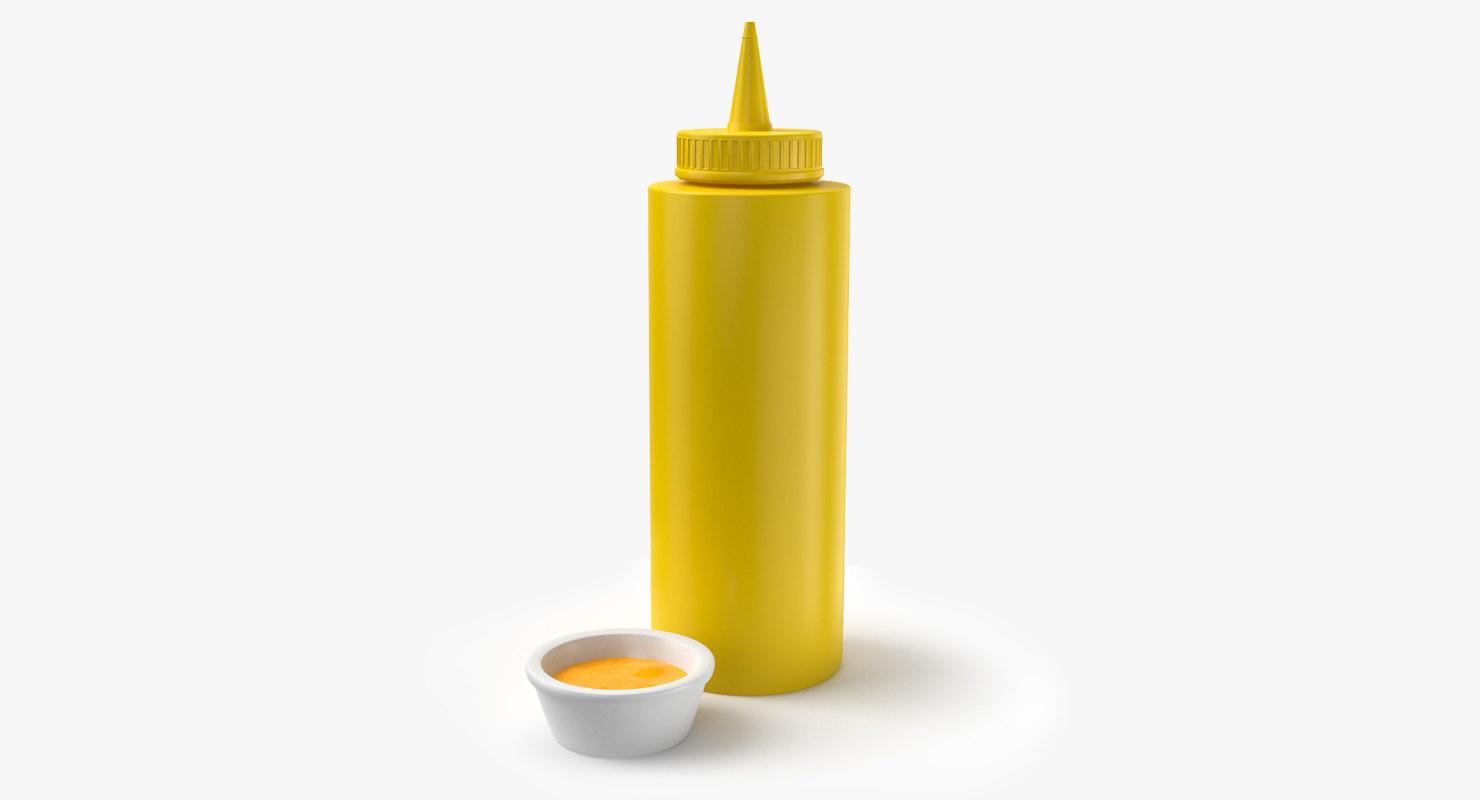 3D mustard bottle sauce plate