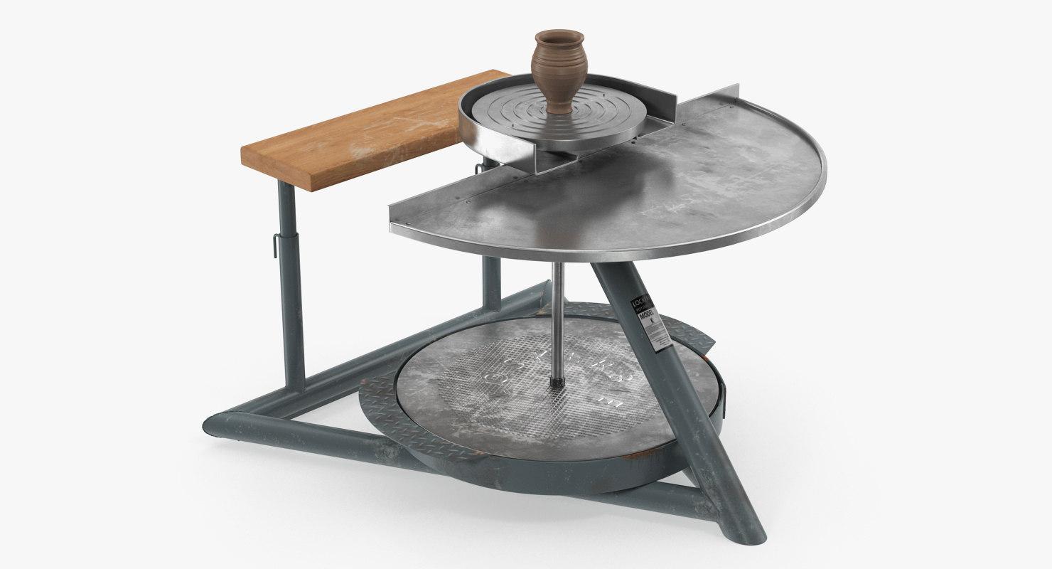 clay pot pottery wheel model