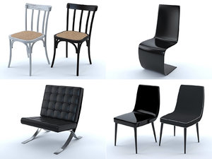 chairs lounge leather 3D model