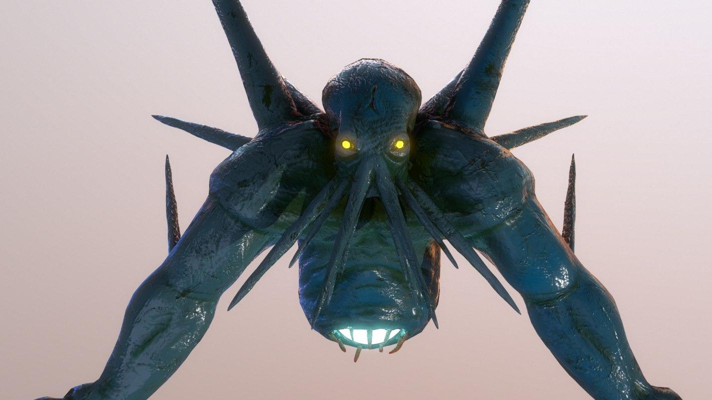 3D cthulhu sea monster