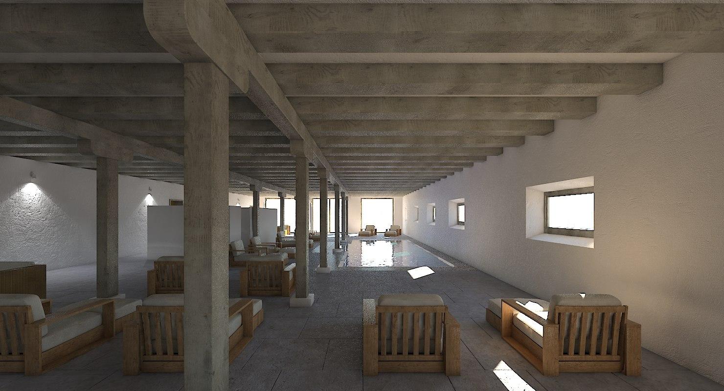 spa interior pool scene model