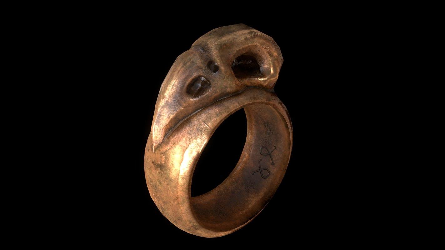 3D model ring raven skull realistic