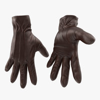 3D brown leather gloves