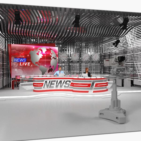 3D model big news tv studio
