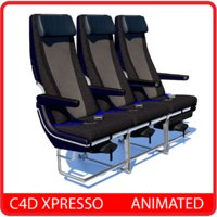 Airplane Economy Seat - Animated C4D xpresso