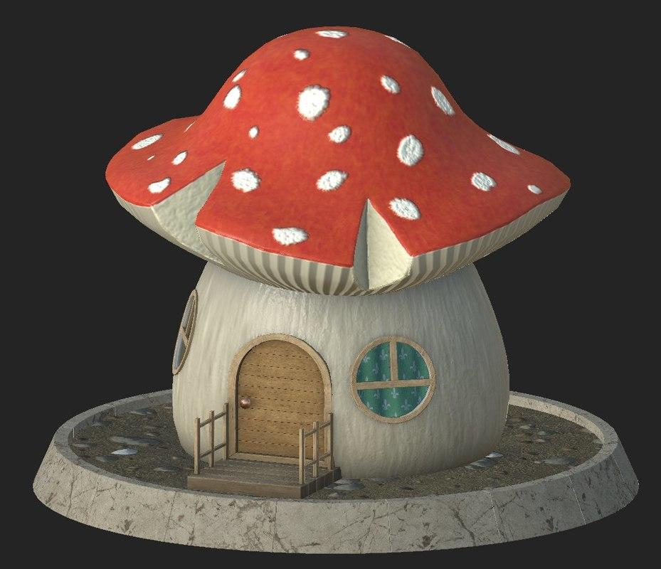 cartoon mushroom house model