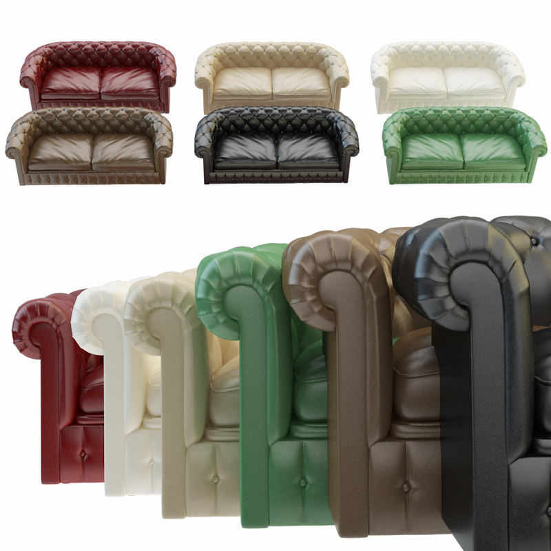 3D chesterfield sofa 6 color model