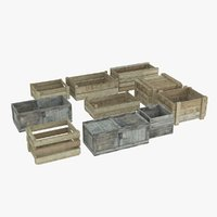 old wooden boxes 3D model