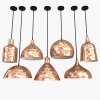 pendant copper lamps lights 3D model