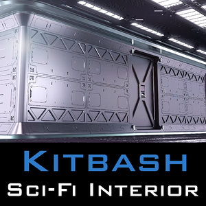 3D sci fi interior kitbash