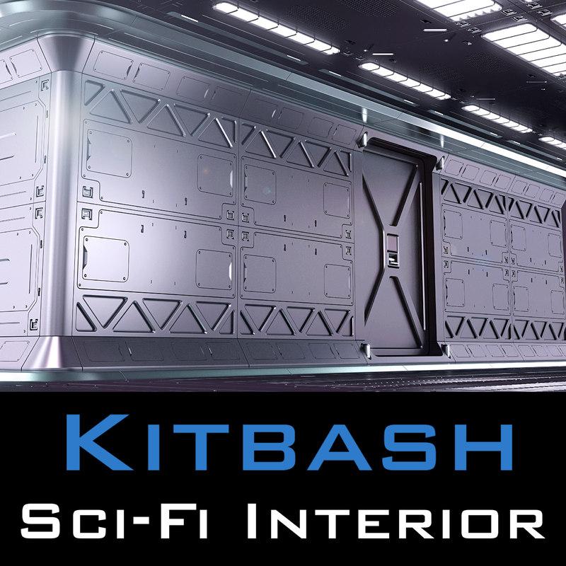 3D sci fi interior kitbash