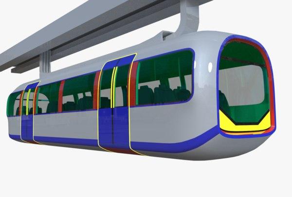 3D modern monorail elevated train