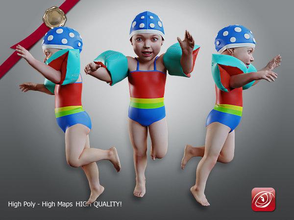 child female swimming pool 3D model