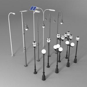 16 street lights 3D