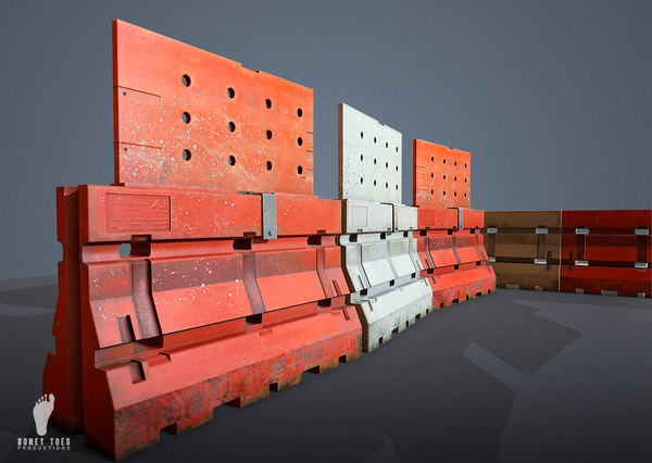 3D plastic jersey barrier model