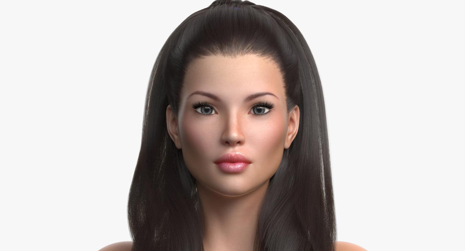 princess angie female hair 3D model