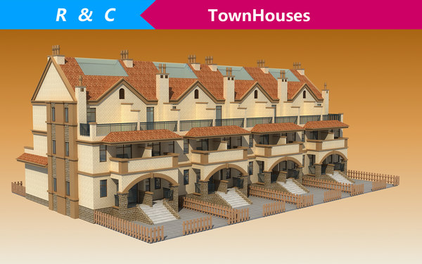 3D model townhouses villa building