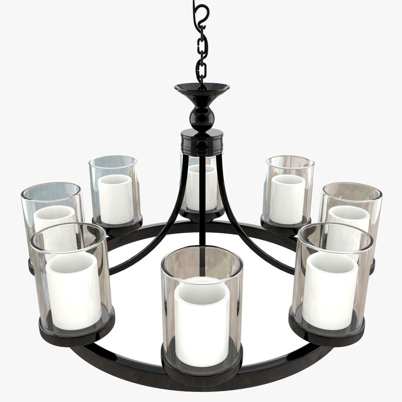 candle chandelier white milk 3D model