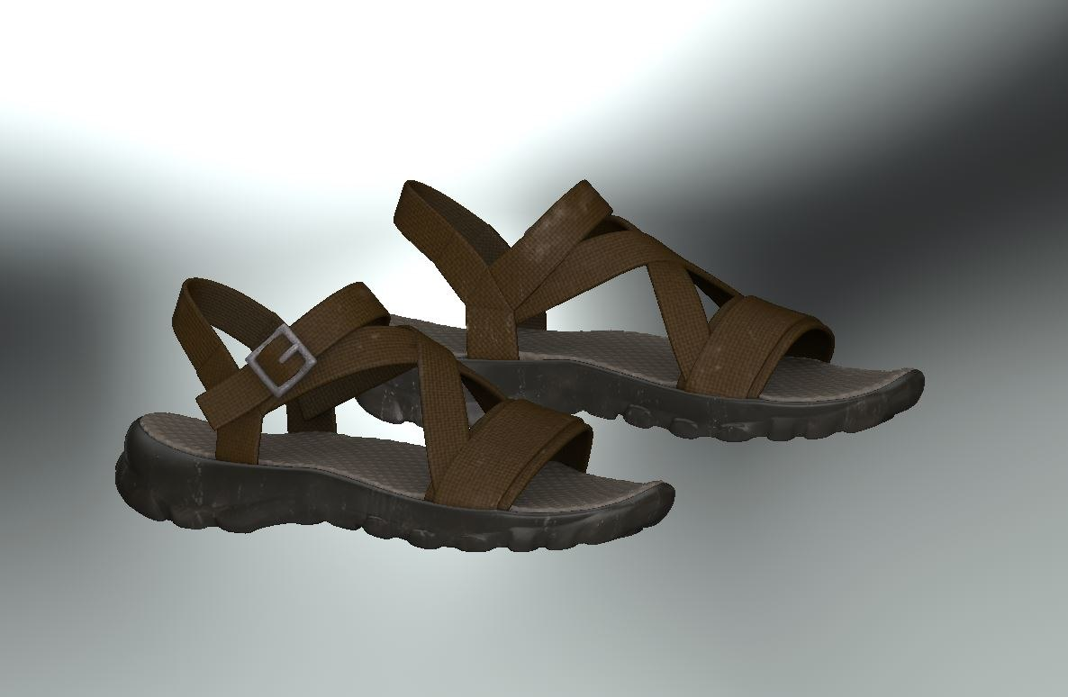 3D model sandal casual realistic shoes